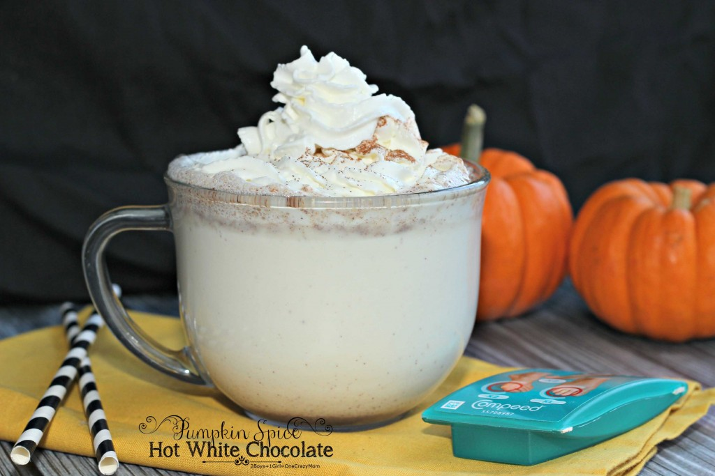 Hot white Chocolate pumpkin spice #Recipe fall idea