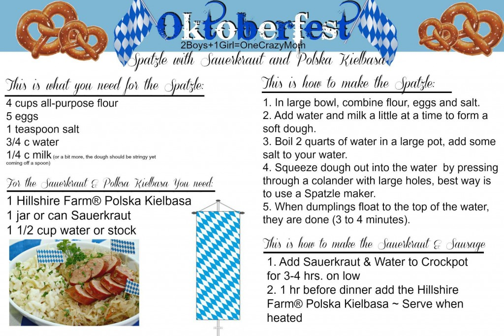 Spatzle & Sauerkraut Sausage #Recipe Card
