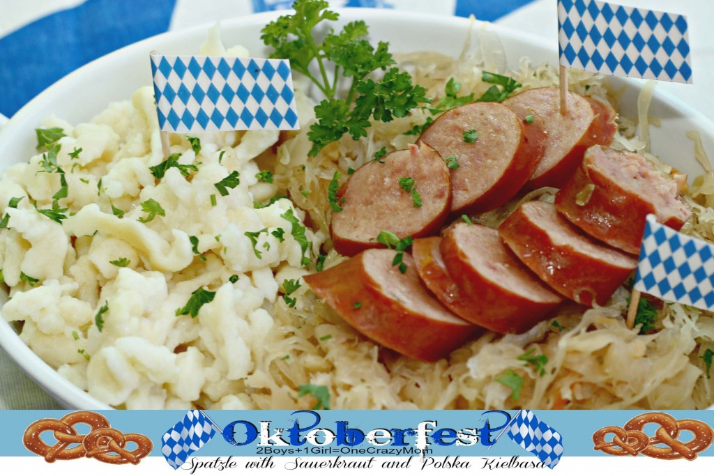 Spatzle with Sauerkraut and Kielbasa Oktoberfest Dinner #Recipe
