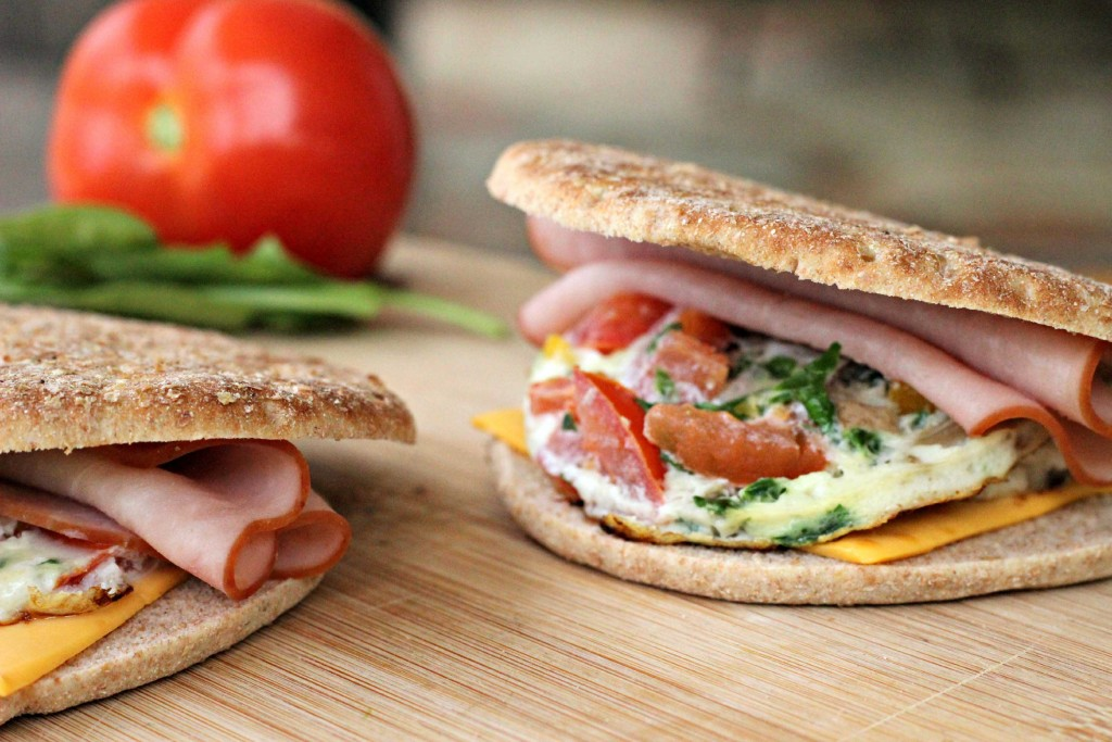 Simple Egg White and Veggie Breakfast Sandwich anytime of the day #Recipe