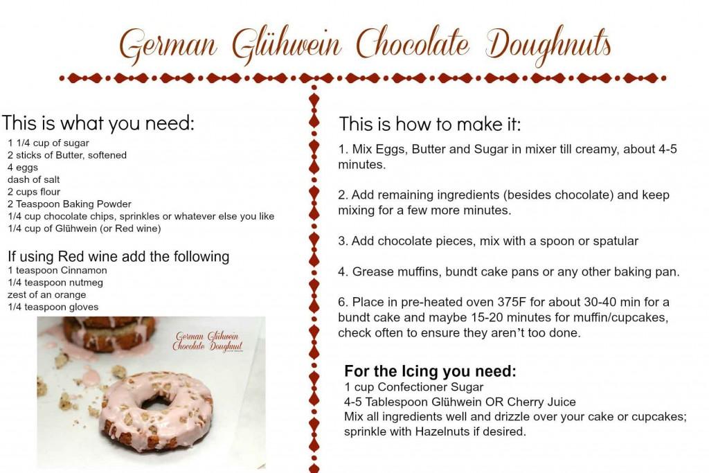 German Gluhwein Chocolate Doughnuts #Recipe card