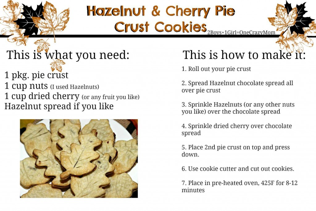 Hazelnut and cherry Pie Crust cookies #Recipe card