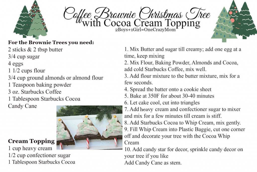 Coffee  Brownie Christmas Tree with Cocoa Cream Topping #Recipe card