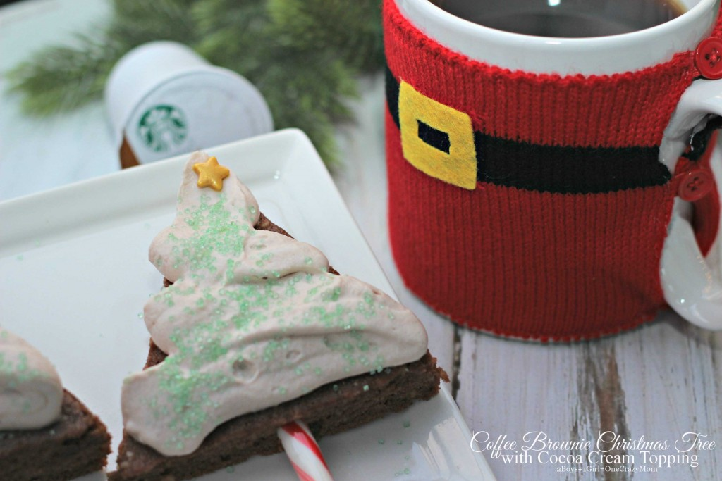 Coffee Brownie Christmas Tree with Cocoa Cream topping #MakeItMerrier this #holidays #Recipe idea with Starbucks home products