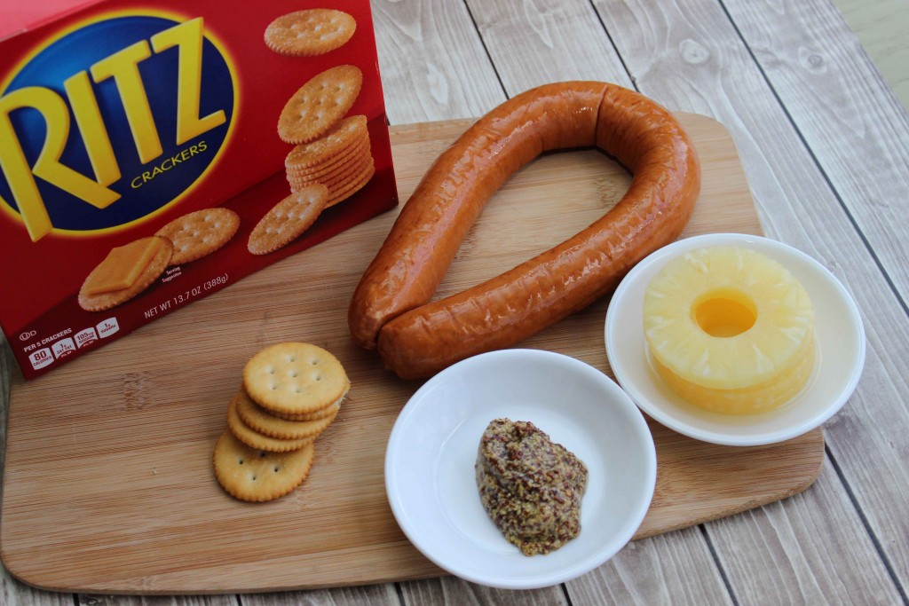 this is what you need for the Grille Pineapple Kielbasa Bites #NabiscoPartyPlanner, #BringHomeTheHolidays