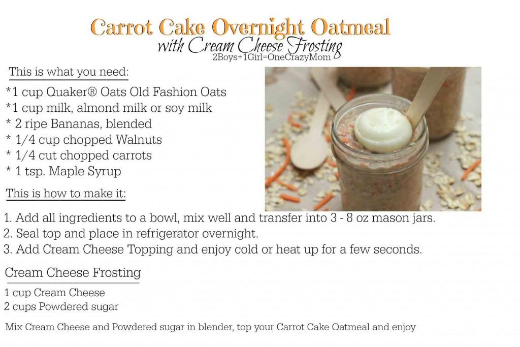 Carrot Cake Overnight Oatmeal #Recipe card