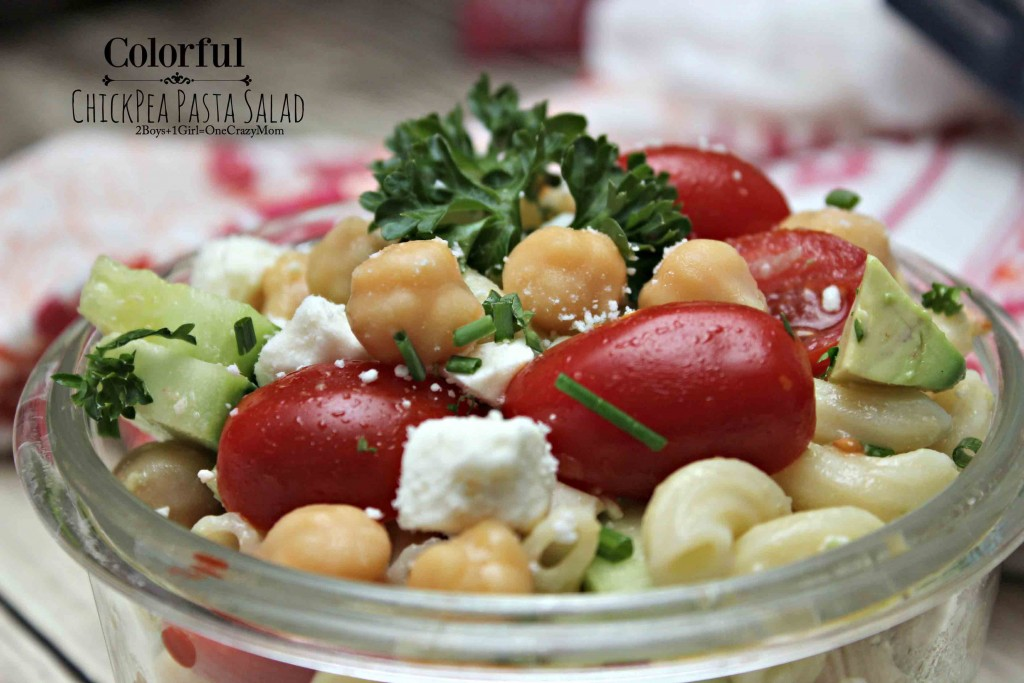 Colorful Chick Pea Pasta Salad #Recipe