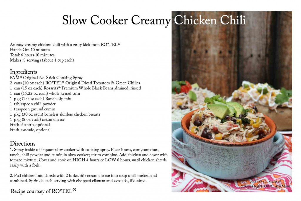 RoTel Chicken Chili Recipe card #YesYouCan