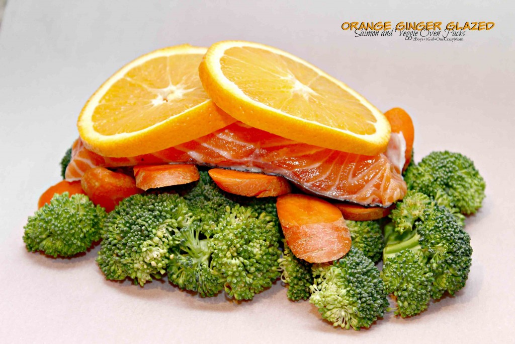 Orange Ginger Glazed Salmon Veggie Packs