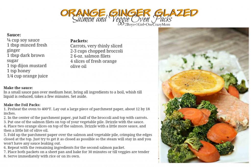 Orange Ginger Glazed Salmon Veggie Oven Packs #Recipe card