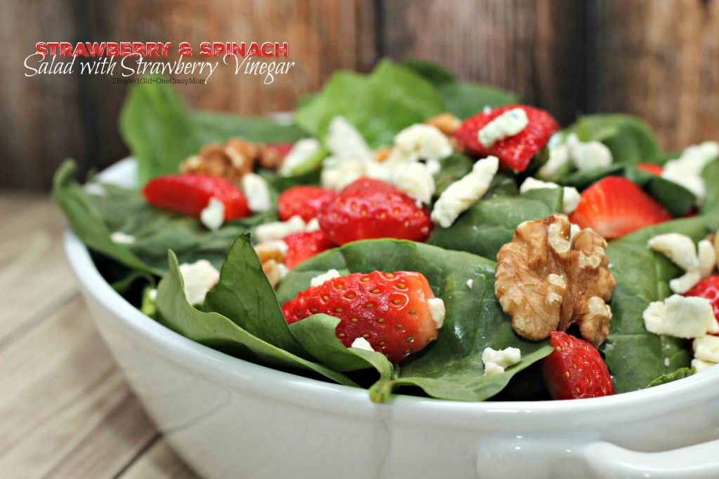 Strawberry Spinach Salad with Strawberry Vinegar #Recipe