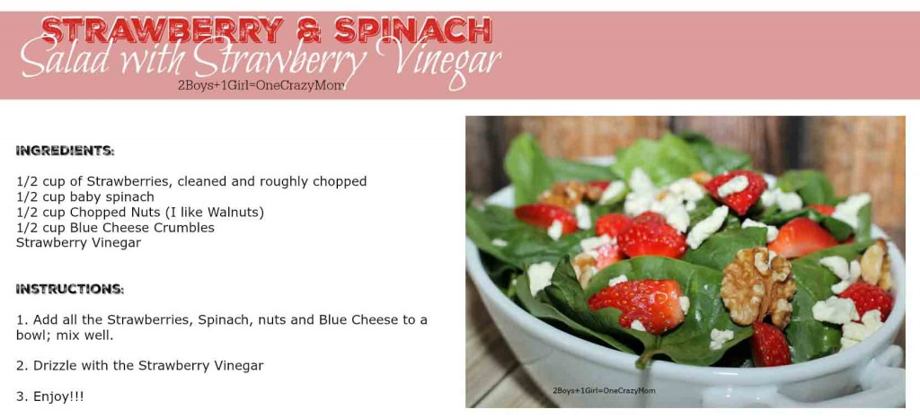 Strawberry and Spinach Salad #Recipe Card