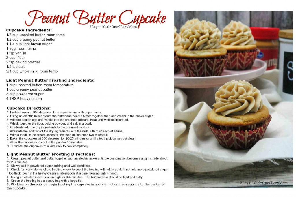 Penut Butter Cupcake recipe card