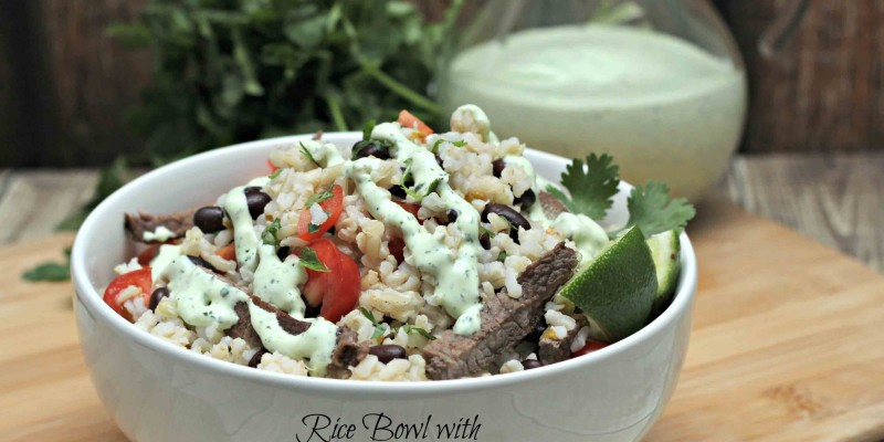 Rice Bowl with Cilantro Dressing is my dinner idea for today