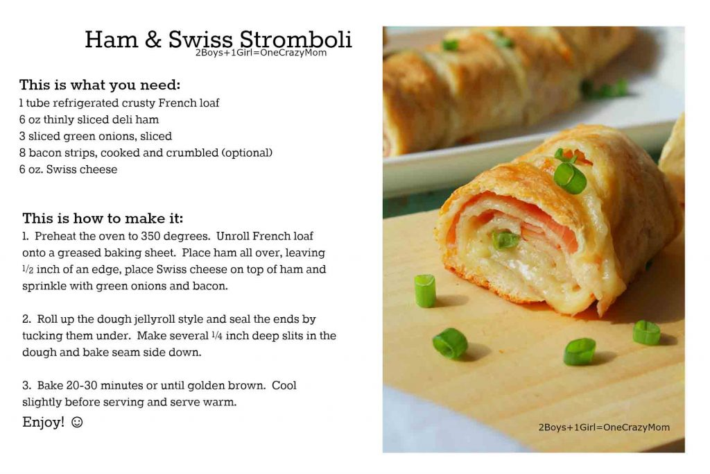 Ham and Swiss Stromboli #Recipe Card