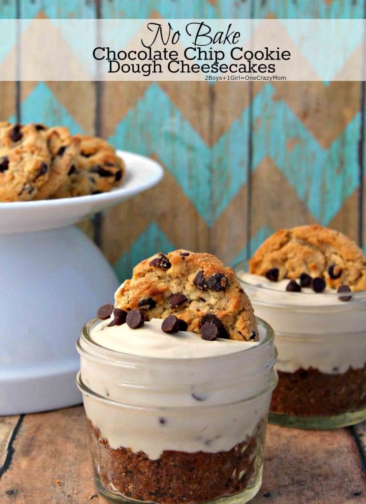 No Bake Chocolate Chip Cookie Cheesecakes