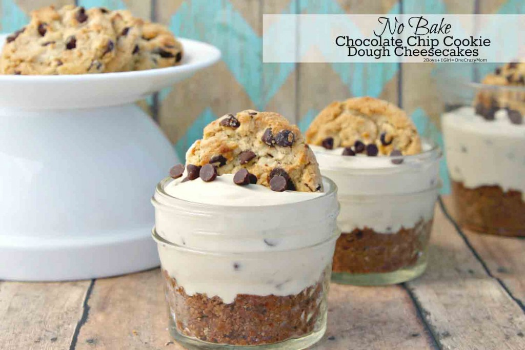 No Bake Chocolate Chip Cookie Dough Cheesecakes #Recipe