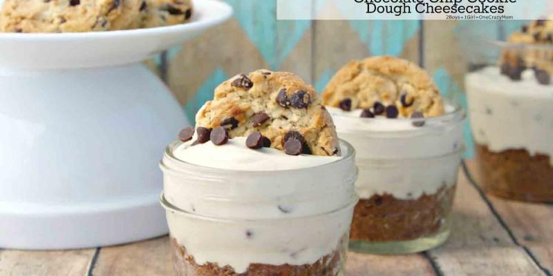 No Bake Chocolate Chip Cookie Dough Cheesecakes #Recipe