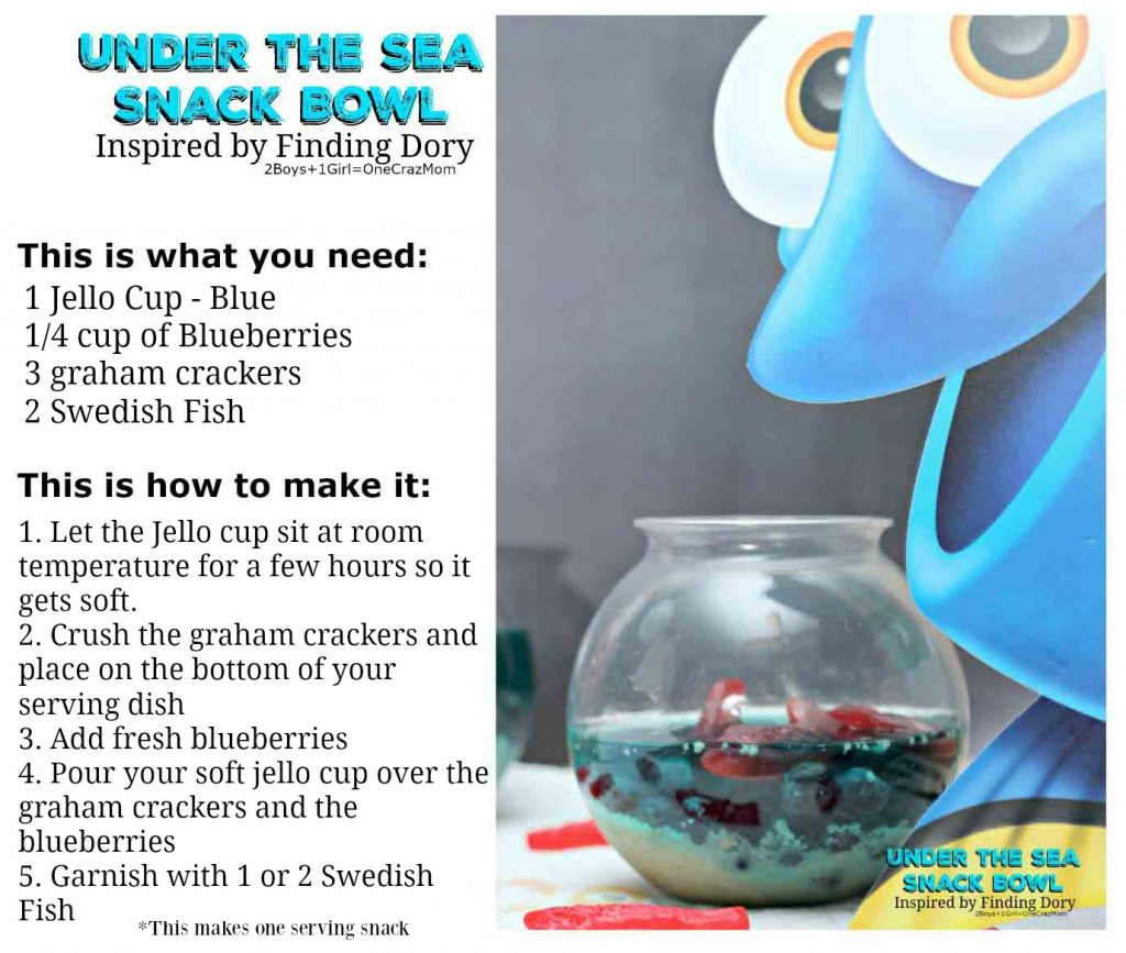 Under the sea Snack #FindingDory Recipe card