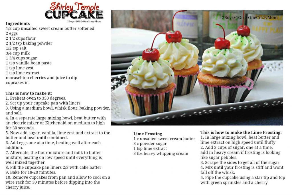 UntitledShirley Temple Cupcake Recipe card