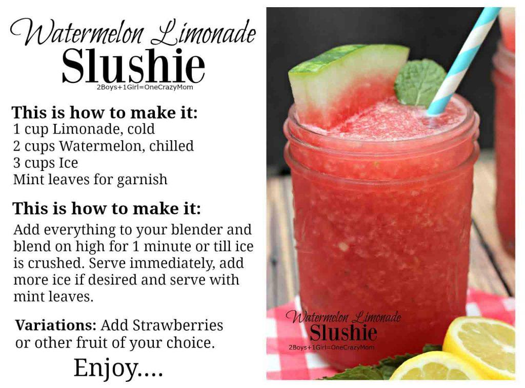 Watermelon Limonade Slushie #Recipe card