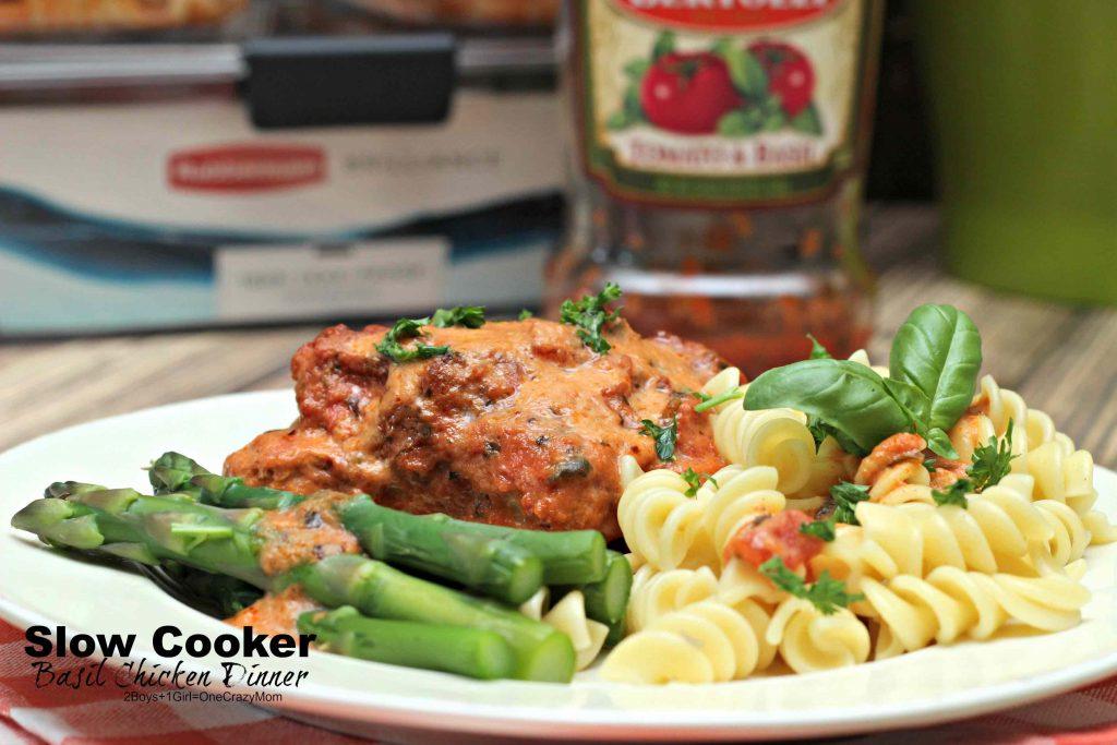 Slow Cooker Basil Chicken Dinner Idea