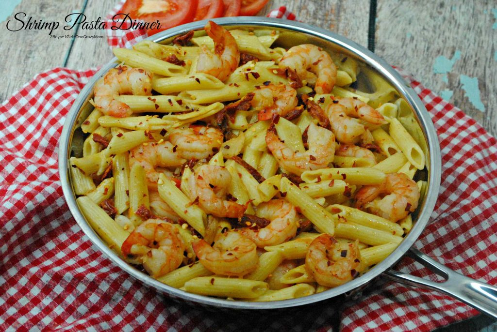 Date night with Netflix was a hit and a great Shrimp Pasta Dinner idea